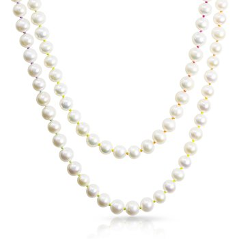 """Knotty 7mm Freshwater Pearl 36"""" Necklace on Rainbow Silk™"""