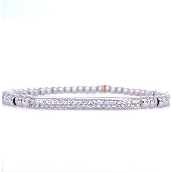 18k White Gold Pave Bead Bracelet