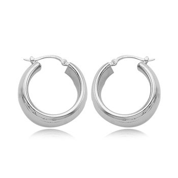 "Sterling Silver 3/4"" Wide Hoops"