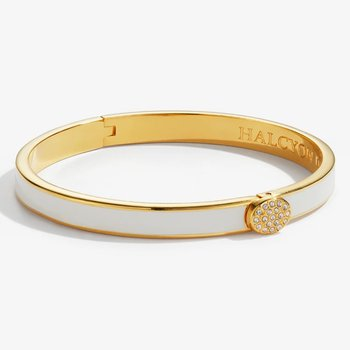 Skinny Pave Button Cream and Gold Bangle