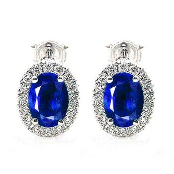 Oval Sapphire and Diamond Halo Studs