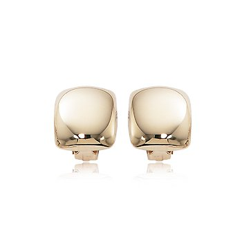 14K Yellow Gold Puffed Square Non Pierced Clip Earring