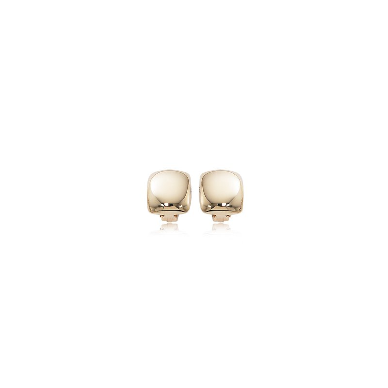 David Harvey Everyday Collection 14K Yellow Gold Puffed Square Non Pierced Clip Earring