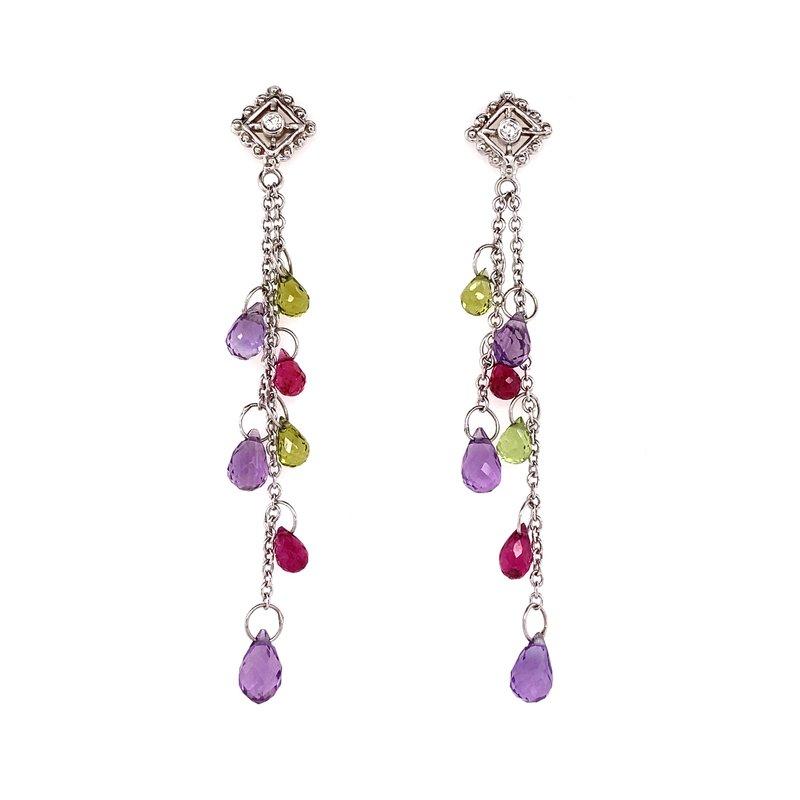 Designer Clearance Sale Diana Heimann 18K Ruby, Peridot and Amethyst Briolette Drop Earing
