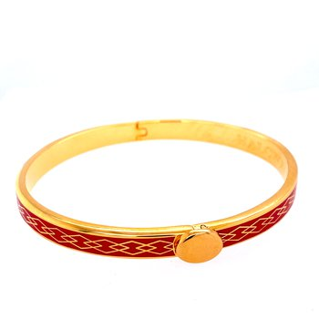 6mm GP Red Enamel Parterre Bangle