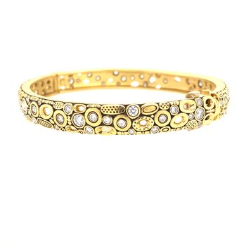 Gold and Diamond Bangle Bracelet