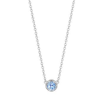 Swiss Blue Topaz Petite Crescent Crown Gem Necklace