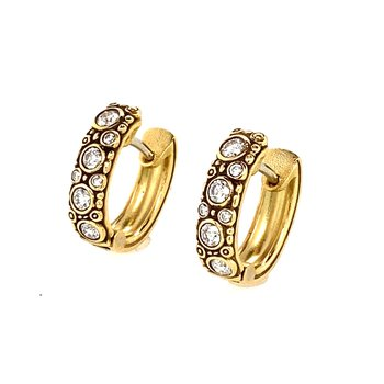 18KT Yellow Gold and Diamond Hoops
