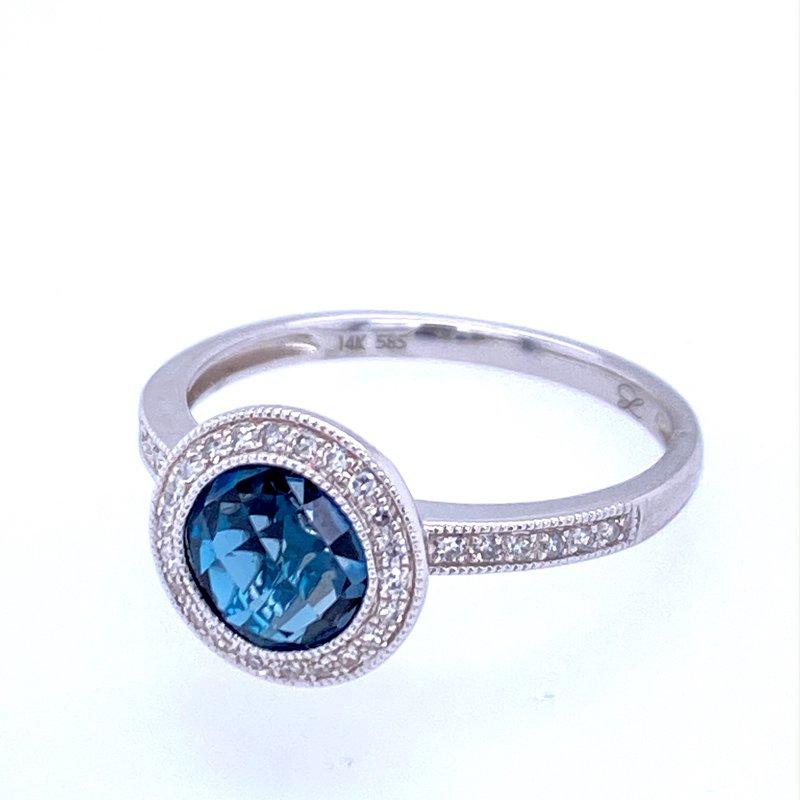 David Harvey Everyday Collection 14KW Blue Topaz & Diamond Ring