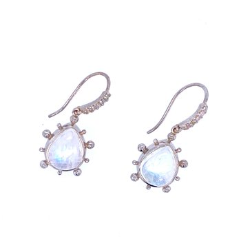 SS Moonstone & White Sapphire Drops