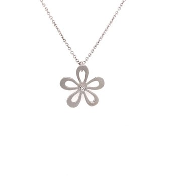 I. Reiss 14K White Gold and Diamond Flower Pendant