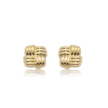14K Yellow Gold Woven Square Studs