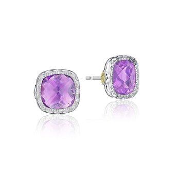 Crescent Embrace Cushion Gem Earrings with Amethyst