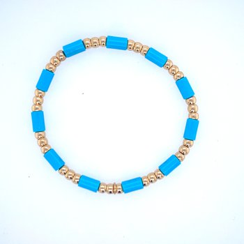 18k Yellow Gold & Light Blue Bead Bracelet