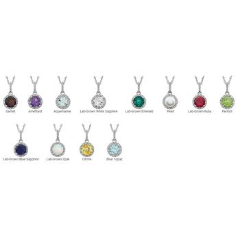Birthstone and Diamond Halo Drop Pendant