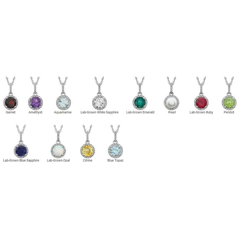 David Harvey Everyday Collection Birthstone and Diamond Halo Drop Pendant
