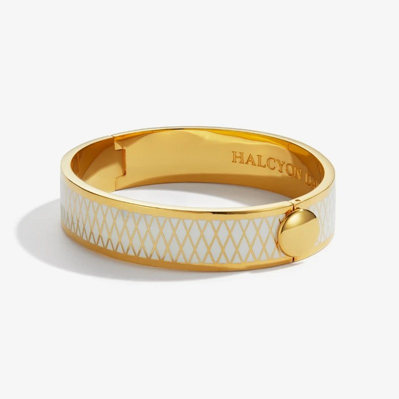 Halcyon Days  Parterre Cream and Gold Bangle