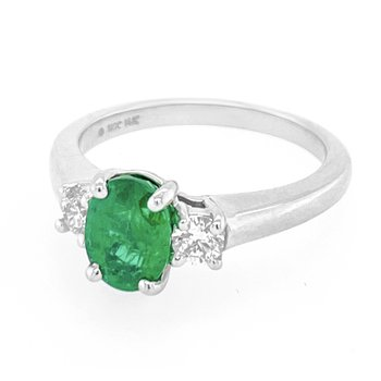 14KW 1.31ct Emerald & Diamond Ring