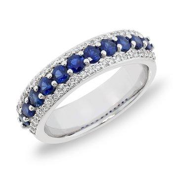 Blue Sapphire and Diamond Edge Band