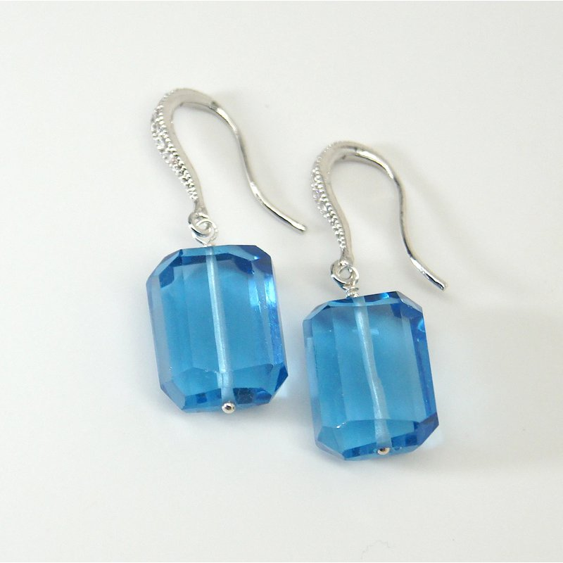 Mined and Found Blue Gumdrop Earring