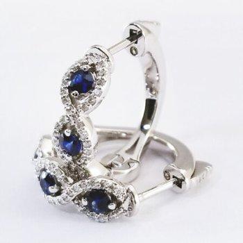 Sapphire and Diamond Twist Hoops