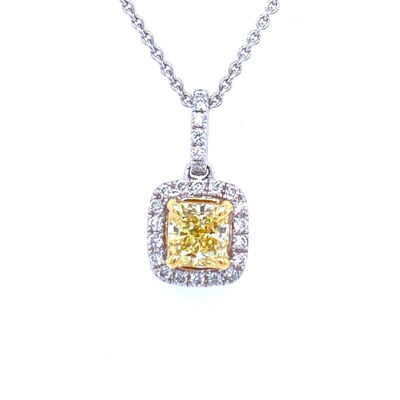 Forevermark 18KW 0.85ctw Yellow Diamond Pendant