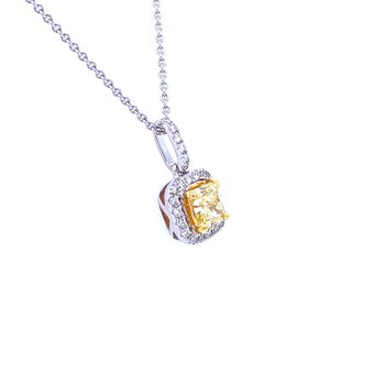 18KW 0.85ctw Yellow Diamond Pendant