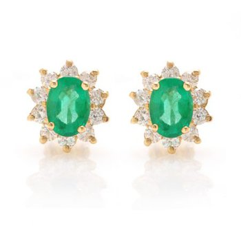 Oval Emerald Cluster Halo Earrings