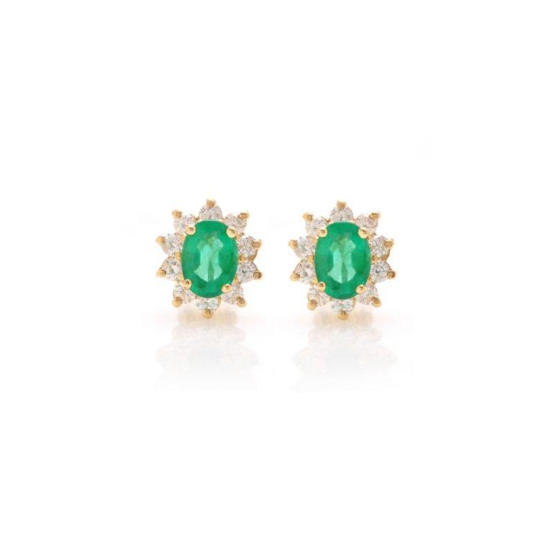David Harvey Signature Oval Emerald Cluster Halo Earrings