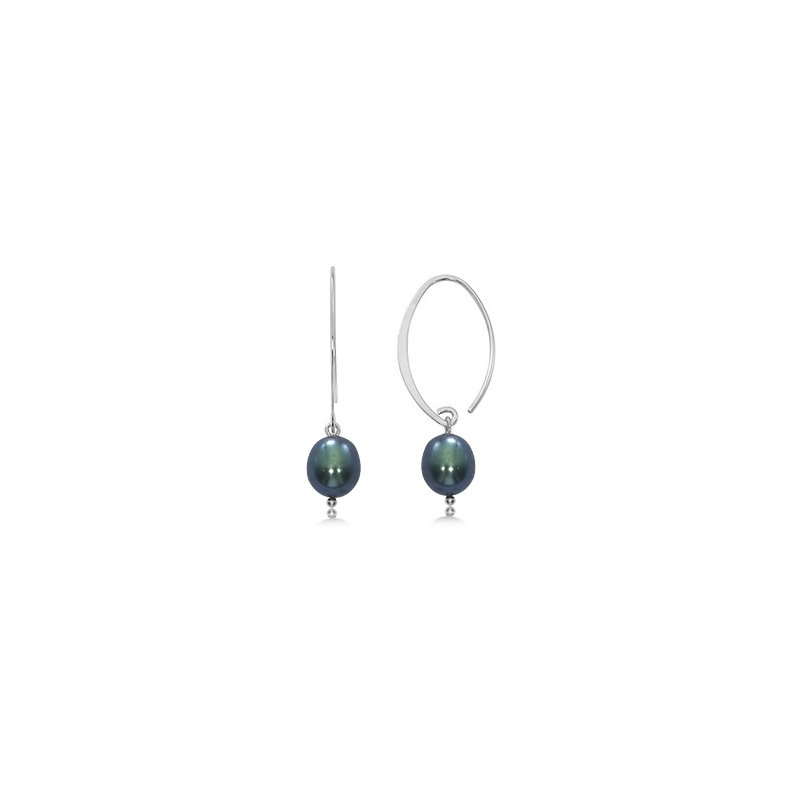 David Harvey Everyday Collection Black Freshwater Pearl Sweep Hoops