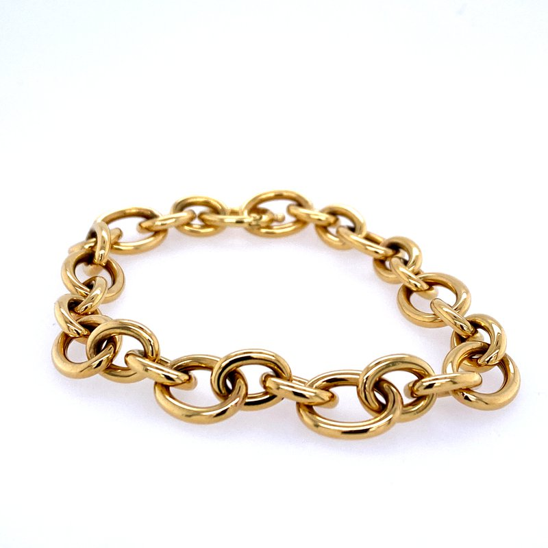 David Harvey Everyday Collection 18k Yellow Gold Oval & Round Link Bracelet