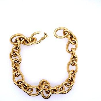 18k Yellow Gold Oval & Round Link Bracelet