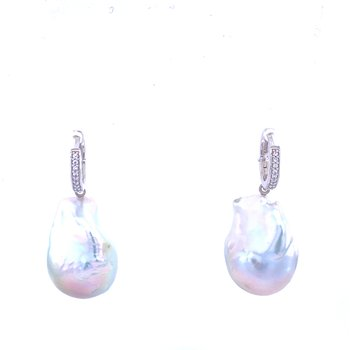 14KW Baroque Pearl & Diamond Drops