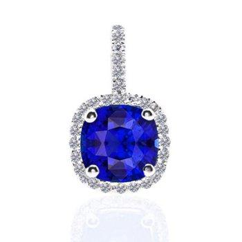 Cushion Sapphire Halo Pendant