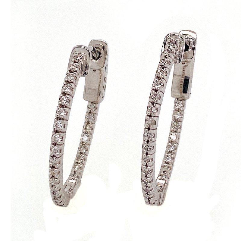 David Harvey Everyday Collection 14KW 0.36ctw Diamond Hoops