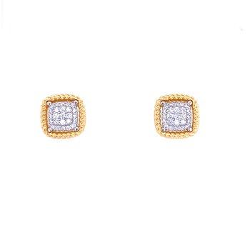"18KY Roberto Coin ""Barocco"" Diamond Studs"