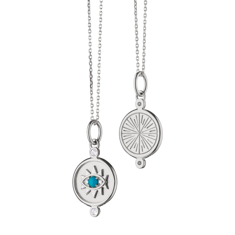 "Monica Rich Kosann SS Mini ""Protect"" Evil Eye Charm Necklace"