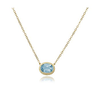 14K Yellow Gold Oval Blue Topaz Necklace