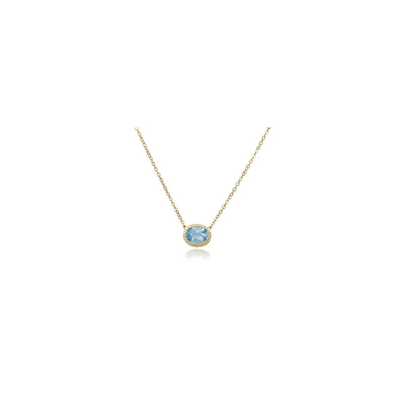 David Harvey Everyday Collection 14K Yellow Gold Oval Blue Topaz Necklace