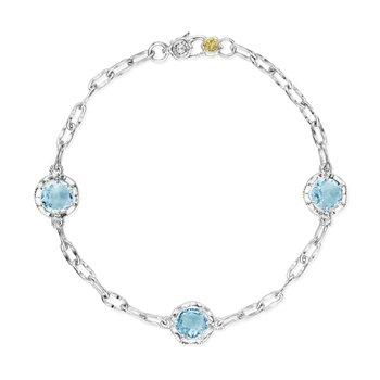 Crescent Crown Sky Blue Topaz Triple Gem Bracelet