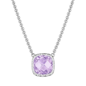 Crescent Embrace Cushion Gem Necklace with Rose Amethyst
