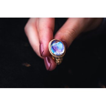 "Moonstone ""Little Windows"" Ring"