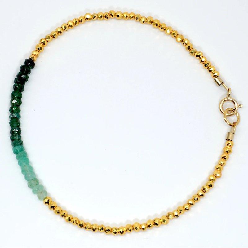 Mined and Found Kenzie Bar Ombré Emerald Bracelet