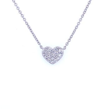 14KW 0.10ctw Diamond Heart Pendant
