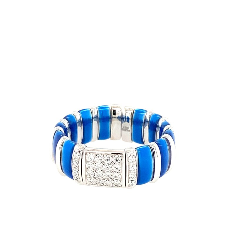 Henderson Collection SS Sapphire Blue Enamel Ring