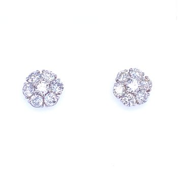 18KW 2.70ctw Diamond Flower Studs