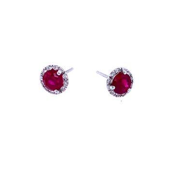 14KW Ruby & Diamond Studs