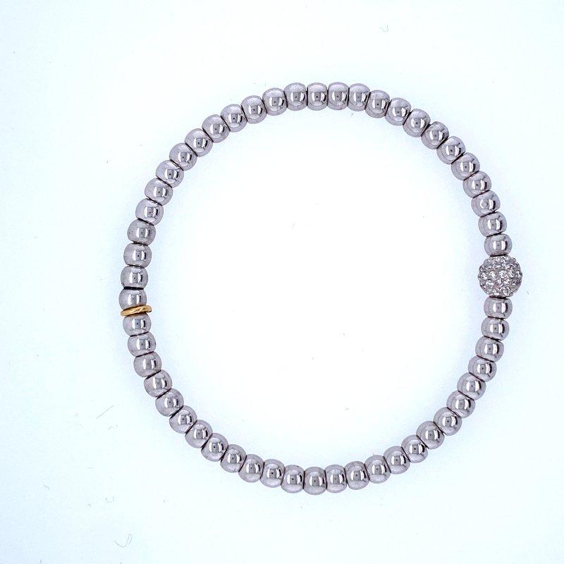 David Harvey Everyday Collection 18k White Gold Pave Bead Bracelet
