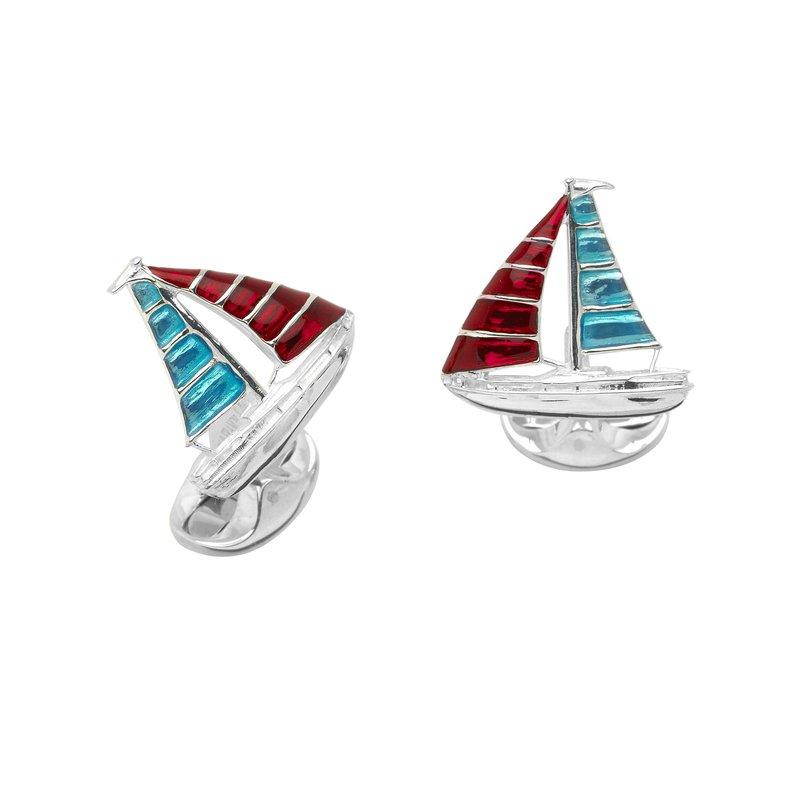 Deakin & Francis SS Blue and Red Enamel Yacht Cufflinks