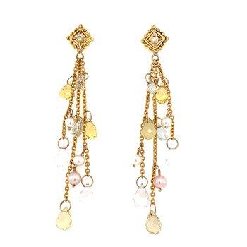Diana Heimann 18K Pearl and Beryl Briolette Drop Earring